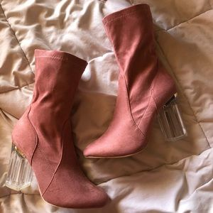 Pink suede ankle booties / size 8